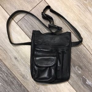 Vintage Black Leather Hip Sack